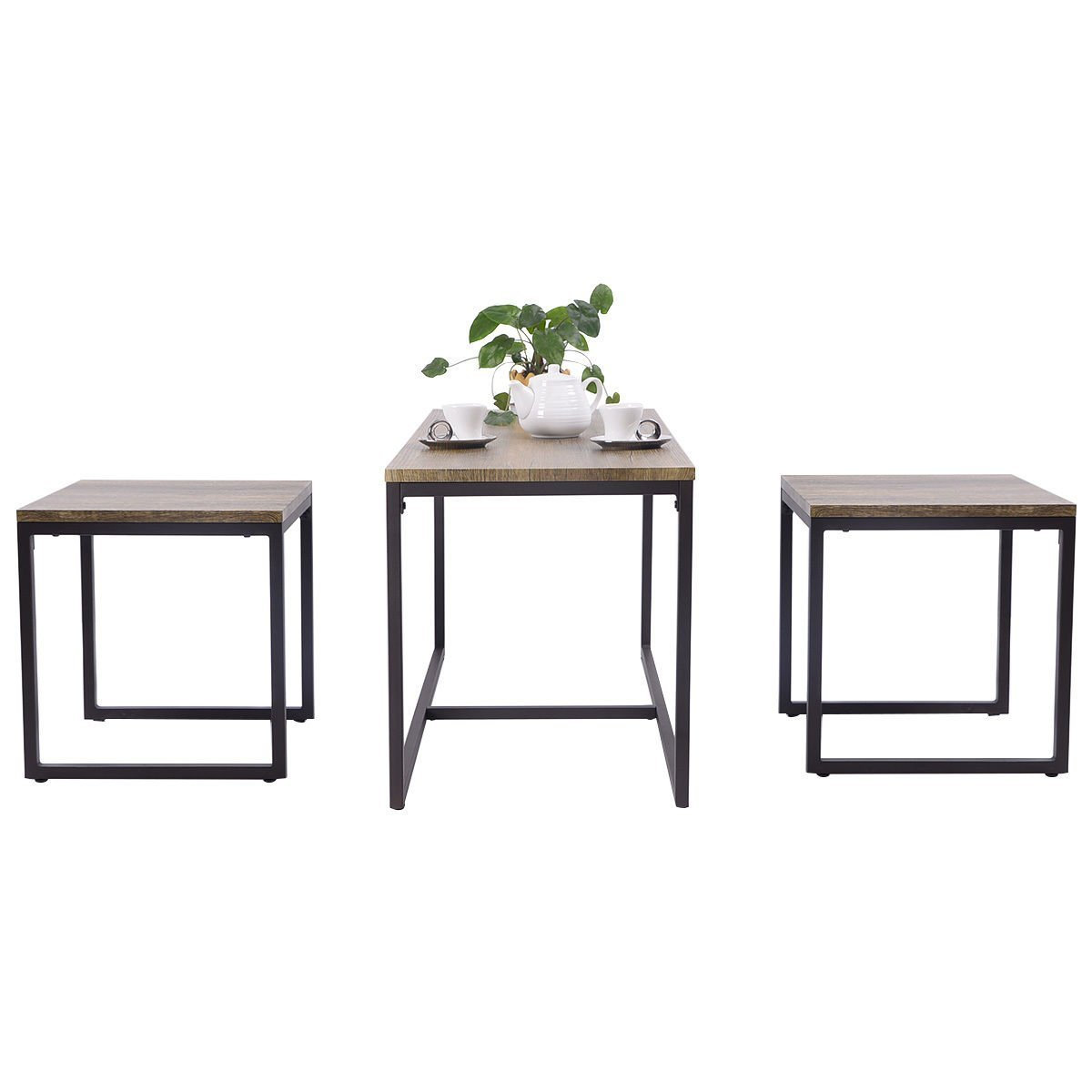 Heaven Tvcz Set Wood Modern 3Piece Nesting Coffee & End Table Furniture Decor Living Room Graceful Elegance To Your Living Room.