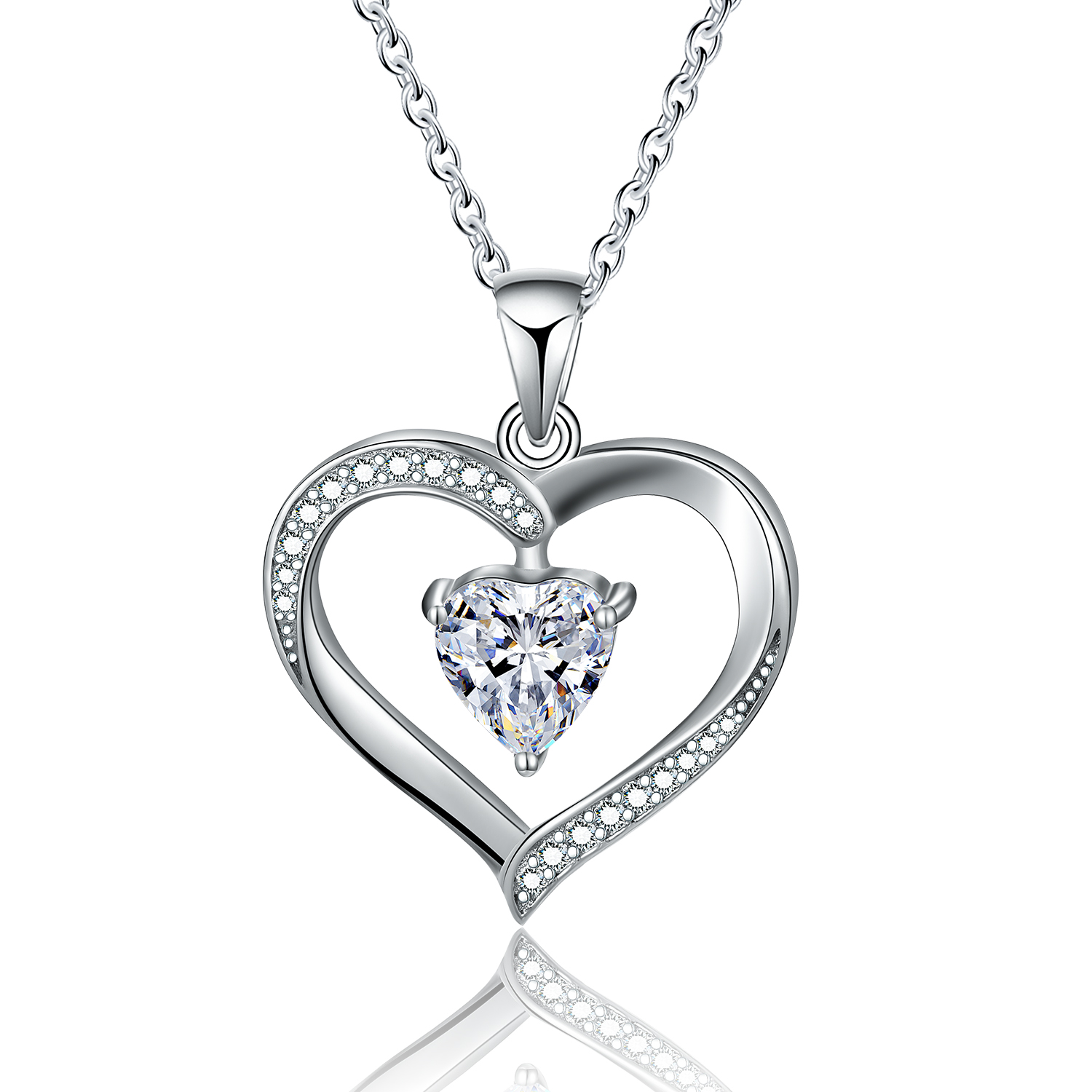 2019 <strong>fashion</strong> 925 sterling silver cubic zirconia heart necklace