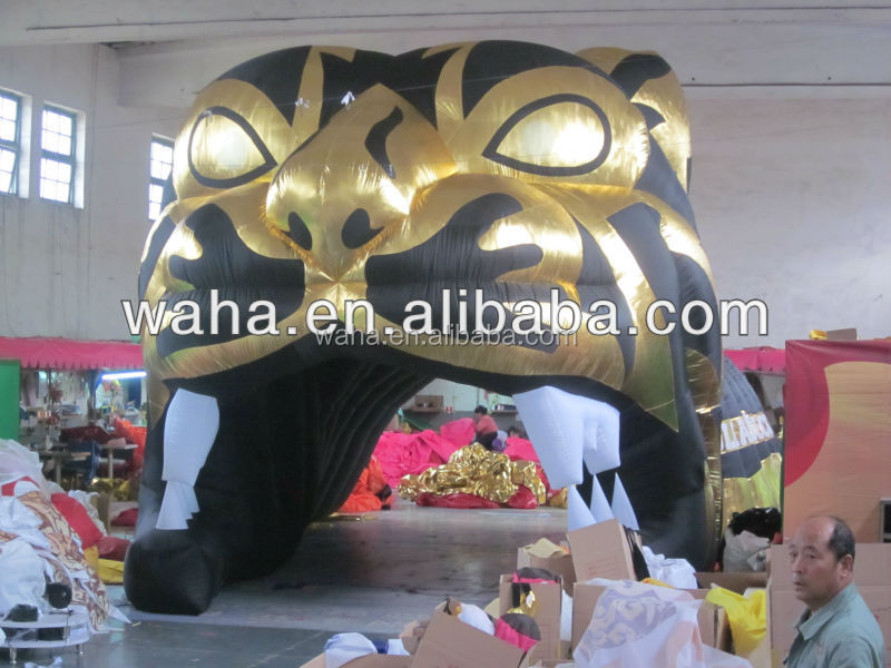 Inflatable sports tiger head tunnel inflatable running football tunnel