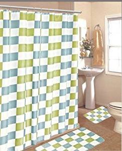 BATHROOM BATH MAT SET RUG CARPET FABRIC SHOWER CURTAIN HOOKS STYLE CHECKER COLOR BLUE CHECKER