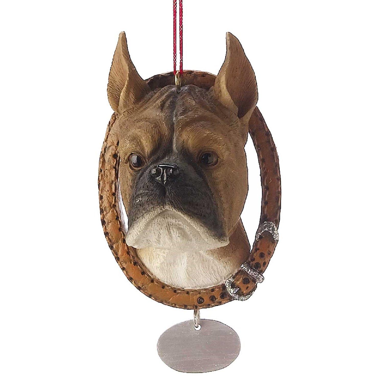 Boxer in Wreath Collar Ornament Dog