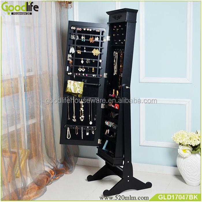 eb39d6e6c0d3e Goodlife lockable الأسود مرآة خزانة أدى عرض الساعات القرط بالإصبع للرجال