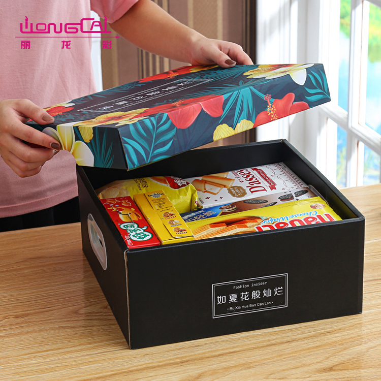 High end good quality reusable square flower printed die cut paper storage box