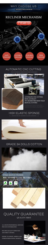 Moderno estilo reclinable eléctrico Recling mecanismo Micro fibra de tela de sofá reclinable con taza y tablero de escritura