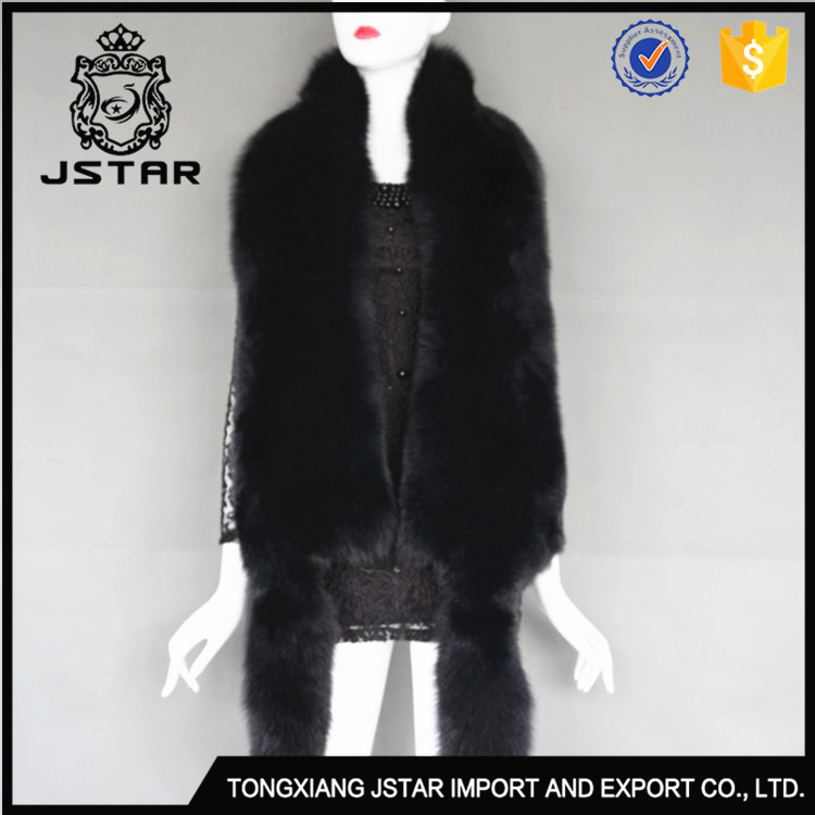 Factory Black The Whole Skin Fur Long Fox Scarf Girl Collar