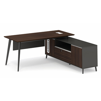 luxury wooden office desk with side cabinet