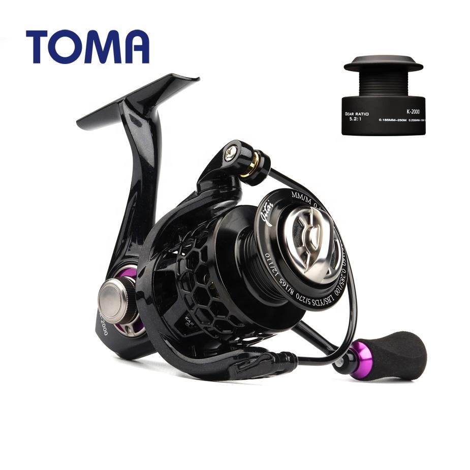 TOMA Spinning Fishing Reel Lightweight 10+1BB 1000-4000 Series Saltwater for Carp Fishing, Red purple gold