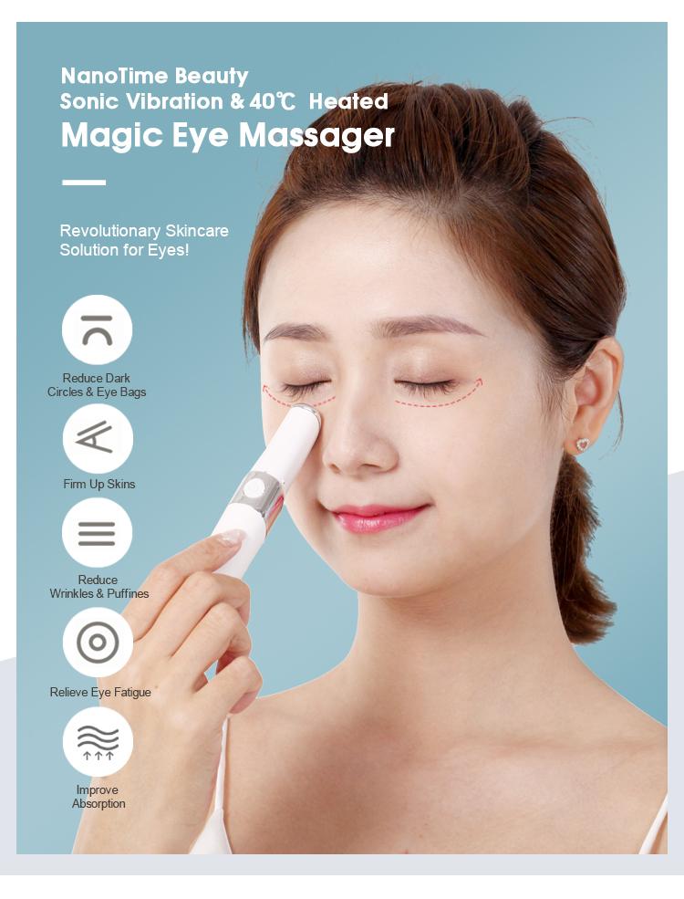 LED light sonic vibration eye beauty massager device