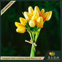 High quanlity wedding decoration artificial pu real touch tulip flower bouquet wholesale