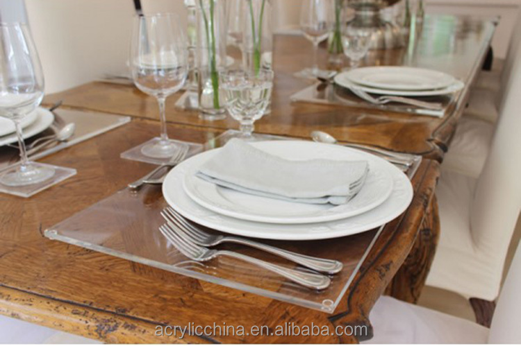 Restaurant acrylic placemats, plexiglass/lucite/clear acrylic table placemats