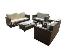 5 piece big 3 seater living room rattan sofa with coffee table