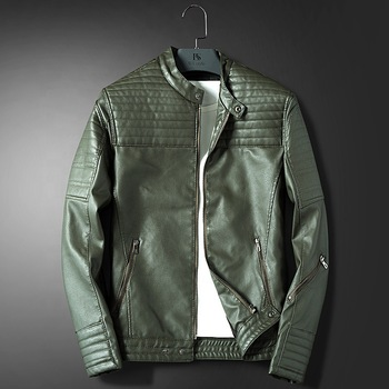 Latest Design Wholesale Spring Fashion Green Mens Italian Leather Jackets