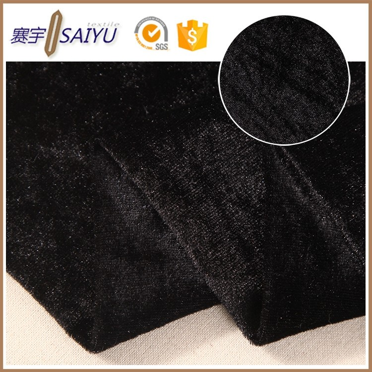 Wholesale market high quality 100 polyester black shiny korea velvet fabric