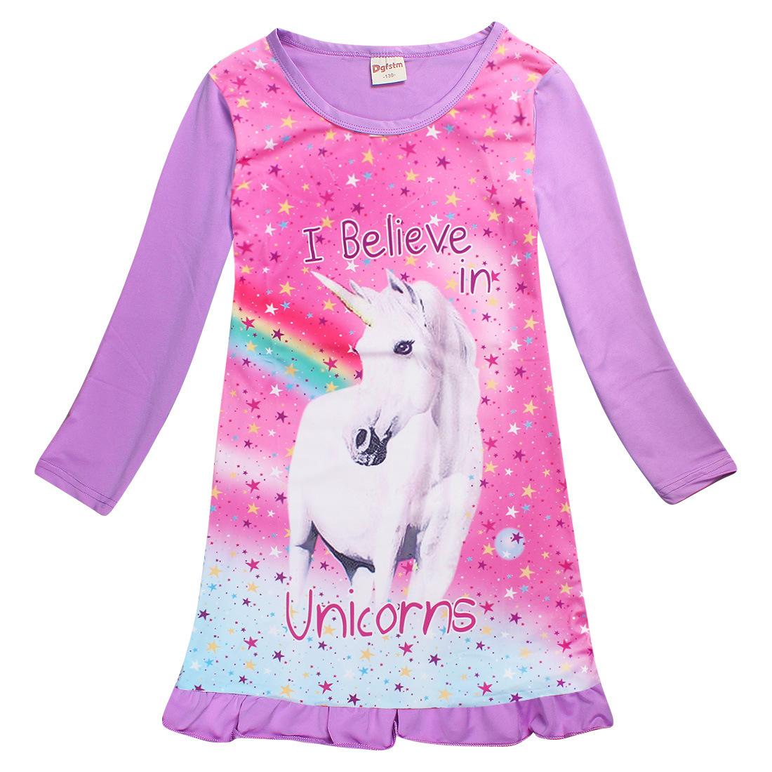 4ed41a3a3904 Unicorn Girls Sleeping Dress Toddler Girl Nightgown Long Sleeved Children  Princess Nightdress Pajamas Nightgown Dress Nightwear Material   100 %Polyester