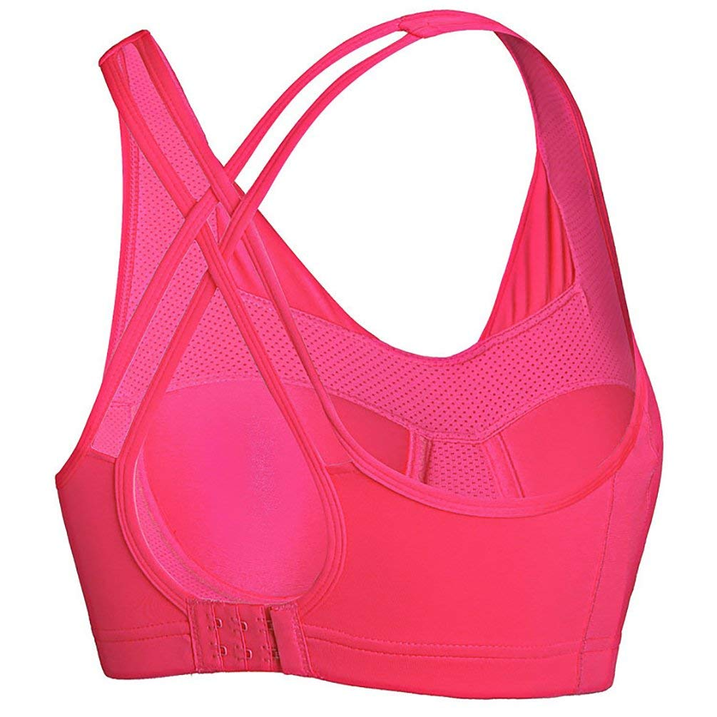 GUSTAVE Yoga Gym Workout Bra for Women Racerback Sports Bras Medium Impact Workout Gym Activewear Wireless Seamless Bra Racerback