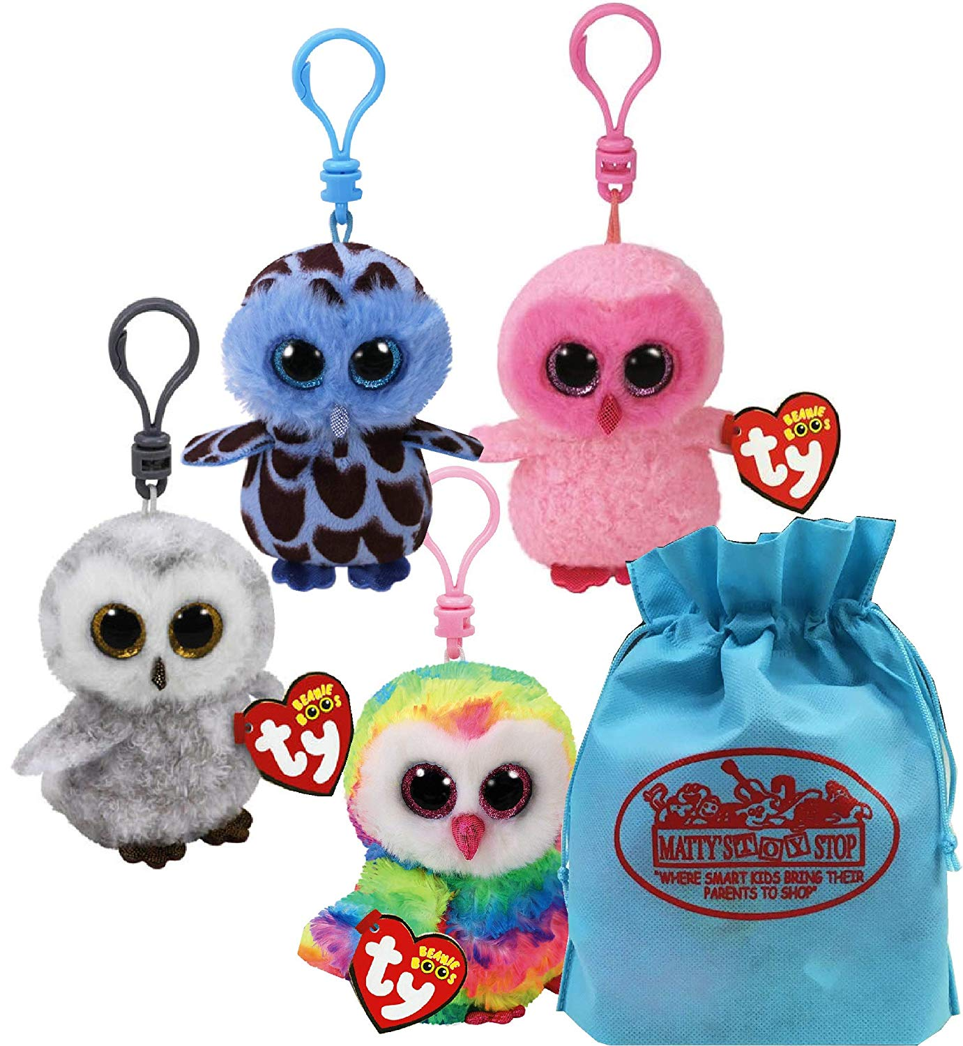 "Ty Beanie Boos Clips (3"") Owls Yago, Owen, Twiggy & Owlette Gift Set Bundle with Bonus Matty's Toy Stop Storage Bag - 4 Pack"