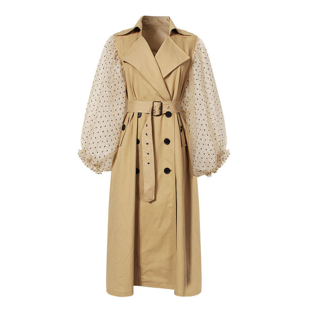 Top brand Polka Dot Puff sleeve Long <strong>trench</strong> <strong>coats</strong> <strong>for</strong> <strong>Women</strong> wholesale windbreaker with belt