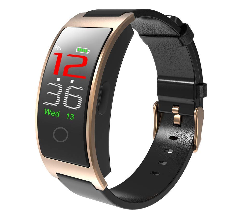 Yozako Leather Strap Smart Wristband IP67 Waterproof Smart Band CK11c 110mAh Battery Smart Bracelet Bluetooth4.0 Smart Watch (Color : T2)