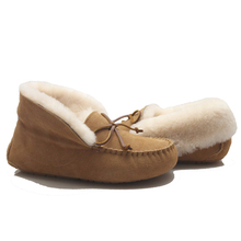 Womens Ladies Natural Leather Sheepskin Slipper Moccasins