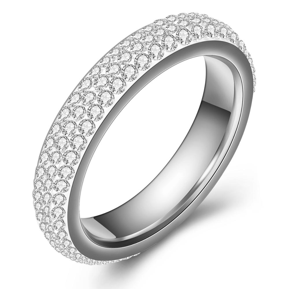 Fashion Jewelry Cz Cubic Zirconia 3 Rows Circle Round Stainless Steel Eternity Wedding Ring,White, 4mm Width