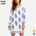 OEM plus size women clothing long sleeve women floral print shift dress