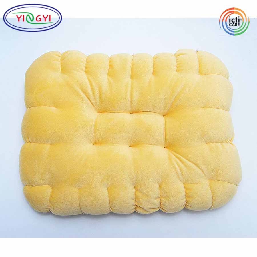 E547 Yellow Biscuit Shaped Round Cushion Pillow Stuffed Plush Soft Toy Sofa Home Decoration Biscuit Pillow