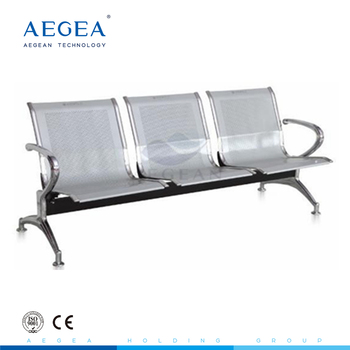 AG-TWC001 hospital furniture chromed surface three seats cold rolling steel plate patient waiting chairs