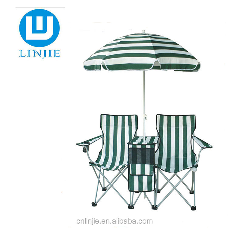 Double Folding Chair with Umbrella Table Cooler Fold Up Beach Camping Chair