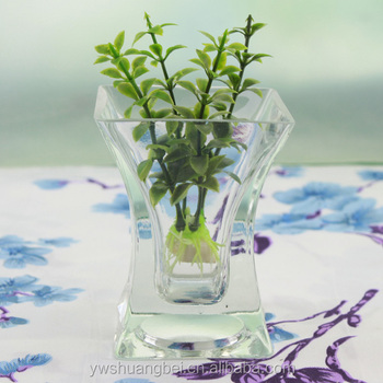 Wholesale Tall Trumpet Square Glass Vase With Thick Bottom Terrarium