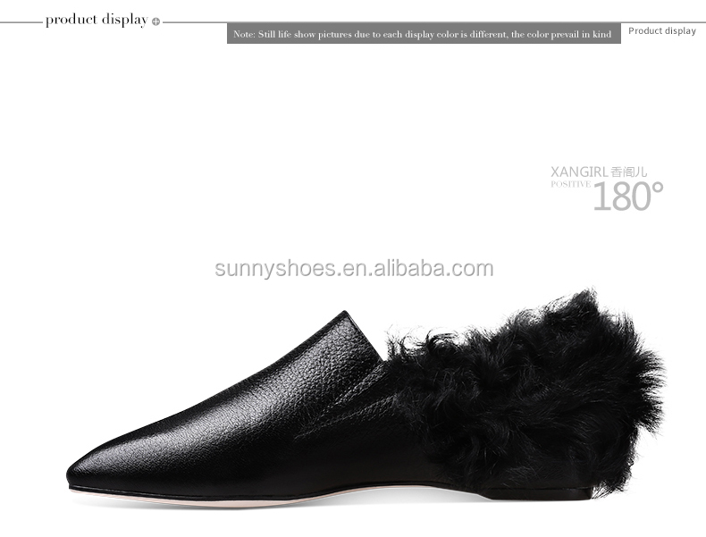 pump Wholesale dress ladies black sheepskin women pumps flat shoes H0n0r4x7Z