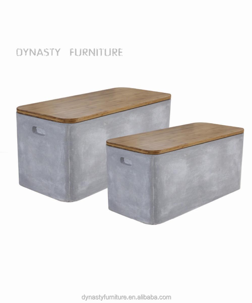 Jardín al aire libre muebles de concreto banco con tapa de madera ...