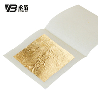 4.33 x 4.33 cm 24 K 99.9% Chinese Genuine Real Gold Sheets Beauty Protect Cosmetics Edible Pure Gold Leaf Foil Paper