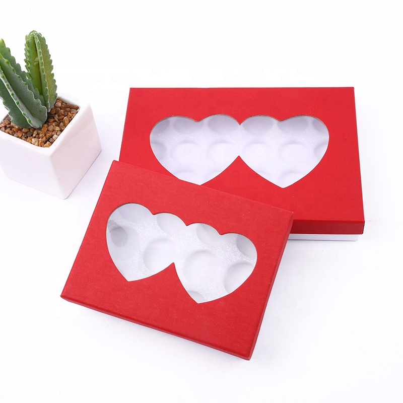 Custom luxury heart shaped flower/macaron/choco paper packing box valentine's day gift box with clear window