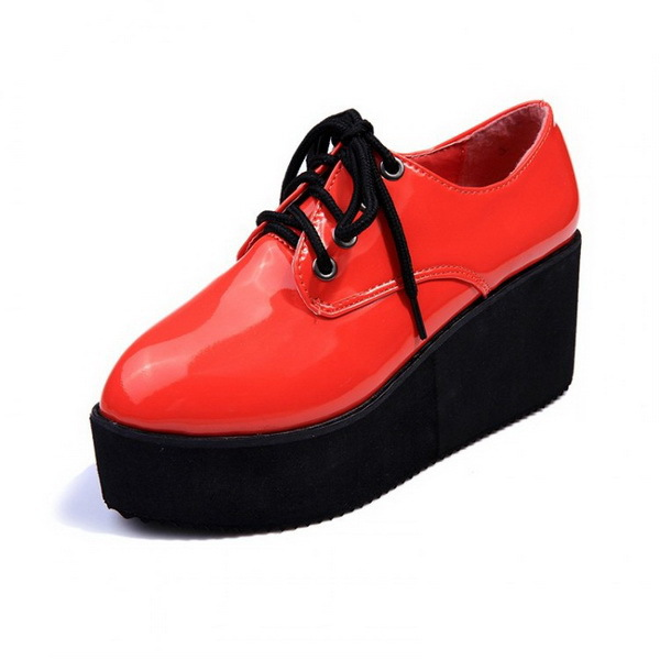 Fashion Brand Women Creepers Faux Leather Lace Up WOmen Platform Flats Casual Comfort Ladies Shoes WHolesales