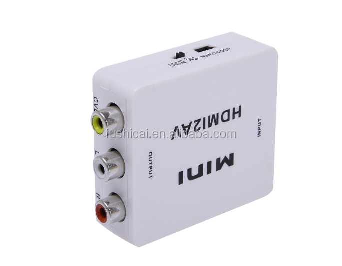 Mini HD Video Converter HDMI to AV/CVBS L/R Video Adapter HDMI2AV 3RCA Support NTSC and PAL Output