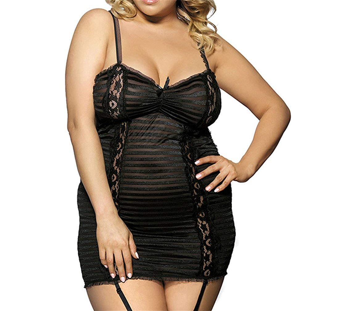 YouYayaZai Women Black Lace Babydoll Lingerie Sexy Chemise Sleepwear with G String Set