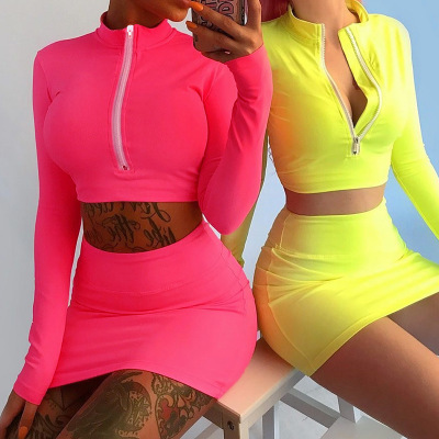 Adult group two pieces sports sets 2018 European style sexy women fashion fitness wear girl tops and skirts фото