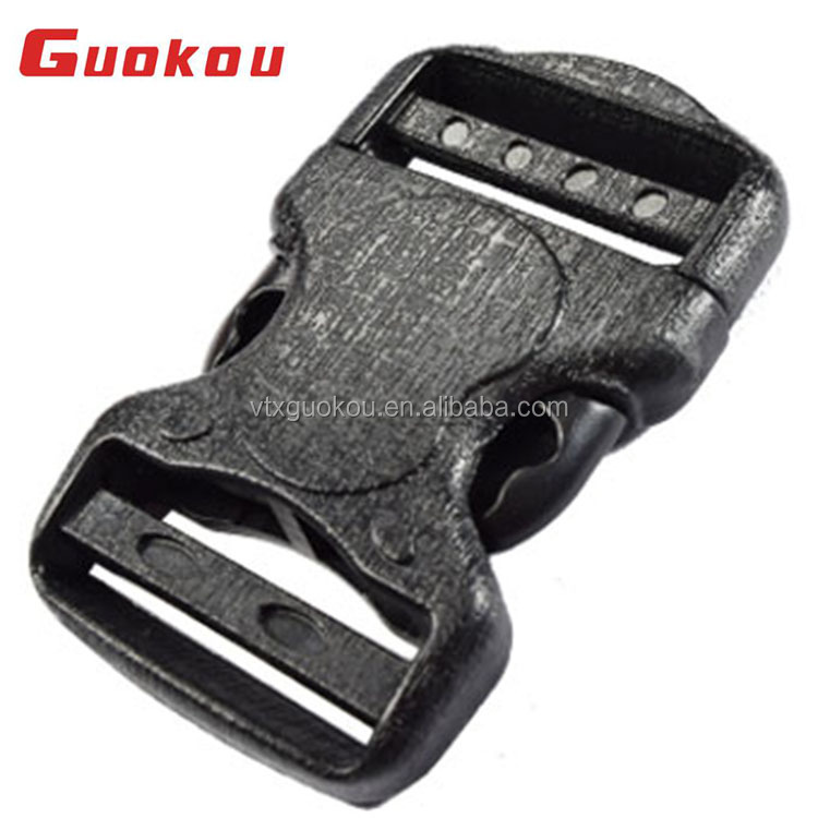 2018 custom logo plastic quick side center release buckle with centre lock