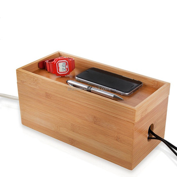Bamboo Cable Management Box Organizer For Home Office   Buy Cable Tie  Organizer,Bamboo Desktop Organizer,Bamboo Drawer Organizer Product On ...