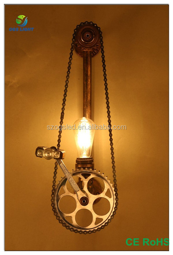Creative design retro industriële gear ijzer wandlamp voor loft/bar/indoor decoratie
