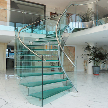 Frosted Glass Treadboard Glass Step And PVC Handrail Safe Spiral Staircase