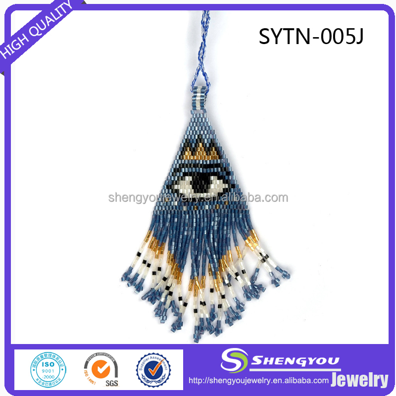 Royal Blue Seed Beads Handmade Turkey Evil Eye Necklace Jewelry