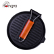 Round korean frying pan wood folding handle cast iron bbq grill pan