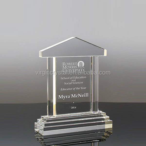 Hot sale blank house shape clear crystal awards plaque glass memorial trophy