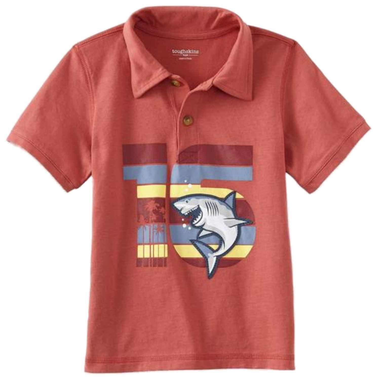 83c9359afe Get Quotations · Toughskins Toddler & Little Boys Red Polo Shark T-Shirt