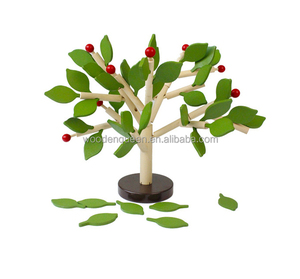 China Factory Toys MSN13040 For Kids Wooden Tree Toy 3D Puzzle Tree Green