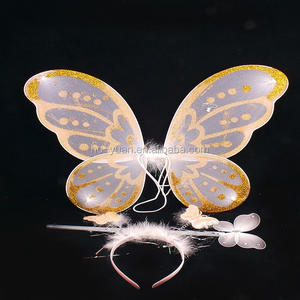 3PCS Party decoration glitter butterfly feather headband fairy wand