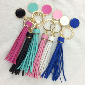 Personalized Monogram Enamel Disc and Leather Tassel Keychain
