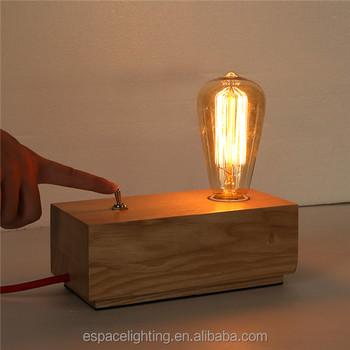 Modern Taobao Wood Block Switch Table Lamp With Edison Bulbs Buy