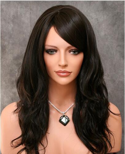 LegendWig Medium Length Black Synthetic Hair Wig With